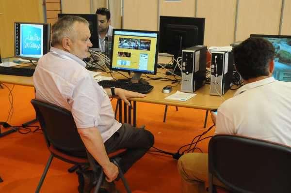 Michel Chilaud, au congrès des centres de sociaux de Lyon, où il animait l'Atelier numérique.